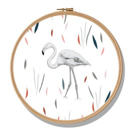 Cadre rond Flamant Rose - Minimel