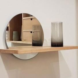Étagère murale bois clair Miroir rond