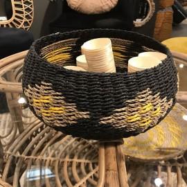 corbeille ronde tressage ethnique