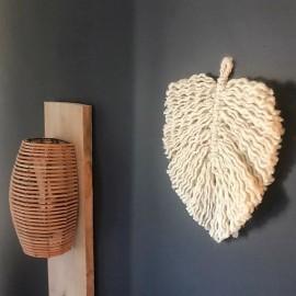 Grande Feuille en Macramé de laine à suspendre