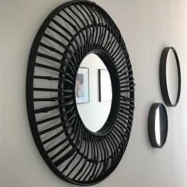 Grand Miroir Rond en Bambou noir 60cm Mme Stoltz
