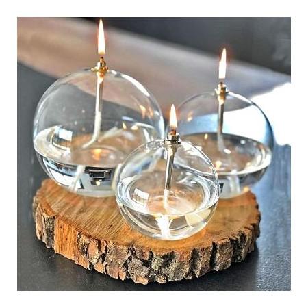 Pack 3 lampes à huile sphère 3 tailles + huile de paraffine