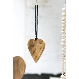 Mini Coeur décoratif à suspendre Teck & Chaîne Mala Noire