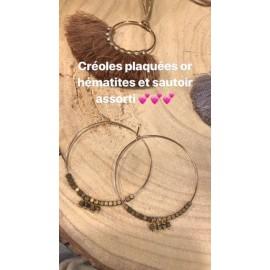 Boucles d'oreille or & hématites