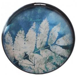 Plateau rond motif végétal bleu