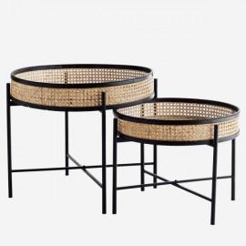 Tables Basses Gigognes rondes cannage naturel et noir