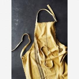 tabier de cuisine coton lavé moutarde rayé noir