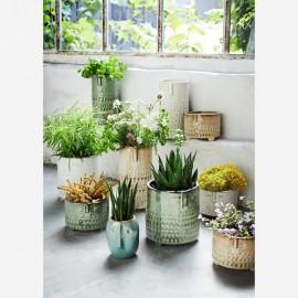 Vase céramique ethnique vert d'eau 10x21,5 cm