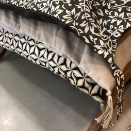 Edredon Sofa Cover coton imprimé vetiver/velours beige/Star brodé