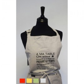 "Tablier en coton imprimé ""A ma table"" 4 couleurs"