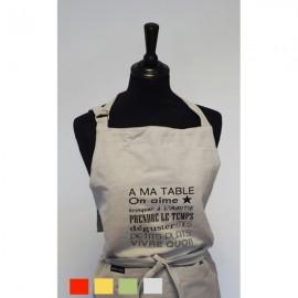 """Tablier en coton imprimé """"A ma table"""" 4 couleurs"""