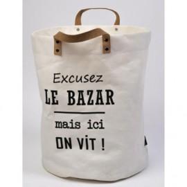 """Corbeille à linge en toile enduite """" excusez le bazar"""""""