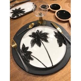 Assiettes Plates palmiers Noir & Blanc