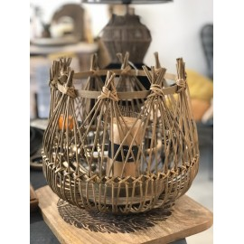 Lanterne - rotin - DIA 32 x H 31 cm