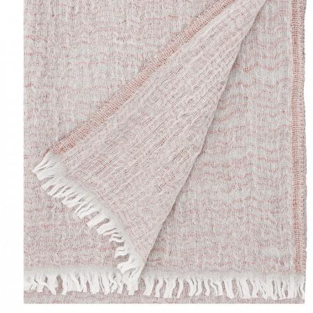 35640d4d2d8d Echarpe lin et laine blanc et oranger Lapuan Kankurit