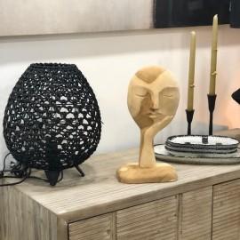 Sculpture visage bois L18xH35xP10 cm
