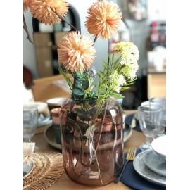 Vase Visage Verre Rose 18x25 cm