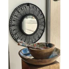 Grand miroir rond Dentelle de Fer Noir