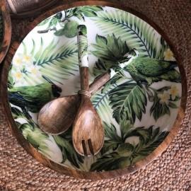 Grand Plat manguier 38cm motif Lemon Bird