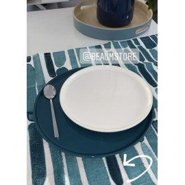 Torchon Pur lin et sa pochette bleu vert