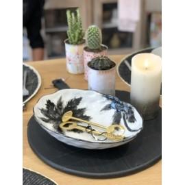 Plat de service Palmes noir & blanc