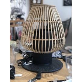 Lampe de table Bambou et métal Noir