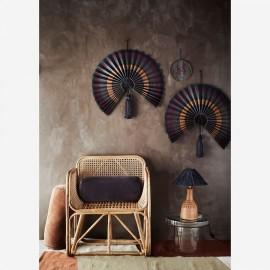 Lampe à poser Terracotta & Raphia noir