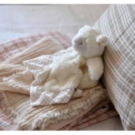 Plaids Bébé rayure matelas gaze de coton doublé sherpa