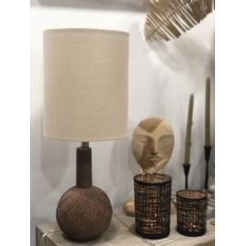 Lampe de salon Pied terracotta & lin Noir Naturel