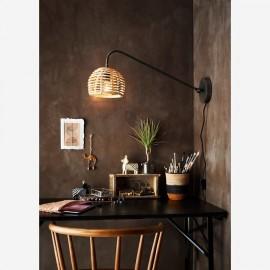 Luminaire Applique Bambou sur bras métal noir