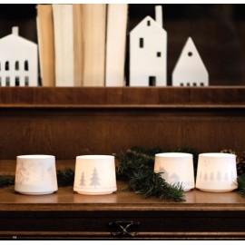 Photophores assortis porcelaine blanche