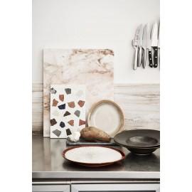 Planche à découper ronde en marbre terrazzo et cuir