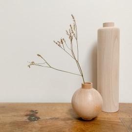 Duo vases haut et rond bois