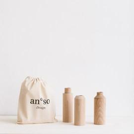 Lot 3 vases bois