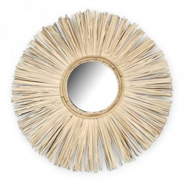 Miroir rond Teck et cannage Ø60cm