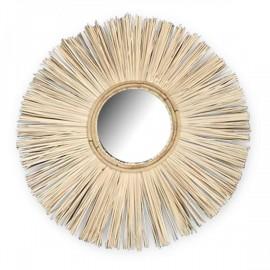 miroir rond Teck et cannage