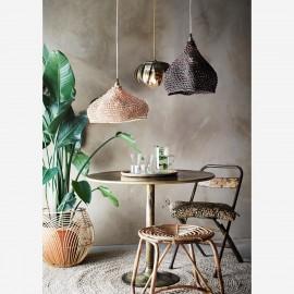Lampe suspension ronde maille filet bicolore