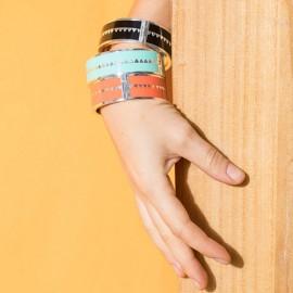 bracelet émail géométrique et métal argenté bleu pool bangle up