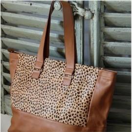 Sac Cabas cuir imprimé léopard