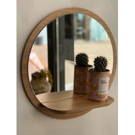 Miroir rond et sa tablette en chêne massif