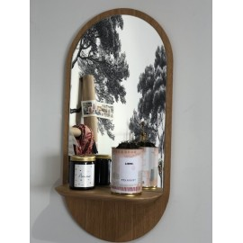 Miroir ovale et tablette en chêne