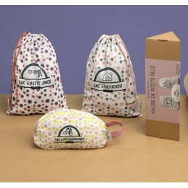 Kit de 3 sacs de voyage petite fille et boite cadeau