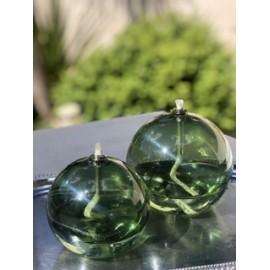 Duo de lampes à huile Sphère Gris Bleuté ou vert + Huile