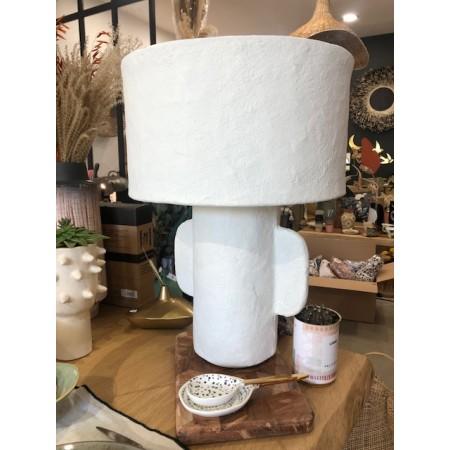 LAMPE DE TABLE PAPIER MACHE ROUGE