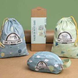 Kit de 3 sacs de voyage petit garçon et boite cadeau