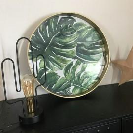 Plateau rond motif végétal Monstera leaf