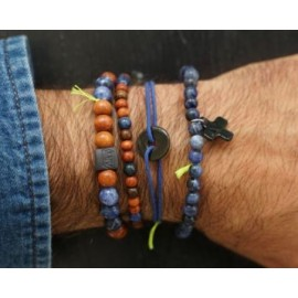 Bracelet Bayong perles bois et bleu - Margote Ceramiste