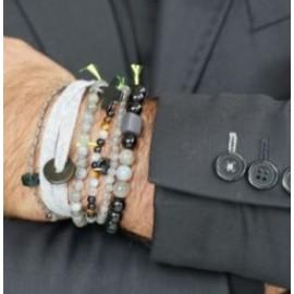 Bracelet Divin élastiqué pierres et céramique - Margote Ceramiste