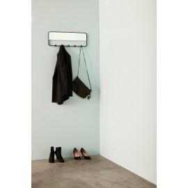 Porte-manteau metal noir et Miroir 5 patères