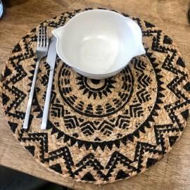 Set de table rond Tribal motifs noirs x4
